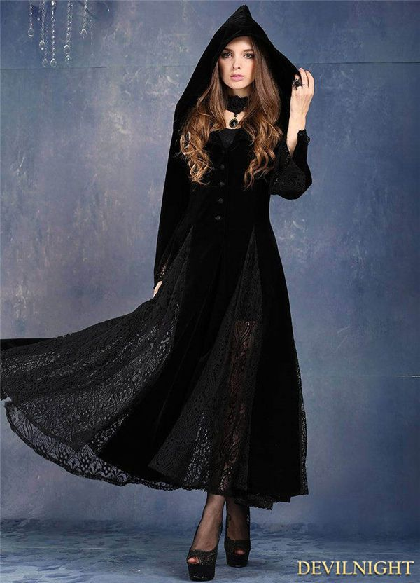 79dcd9949578 Dark In Love Black Dress Long Sleeves Lace Gothic Vampire Vintage Witch  Hooded