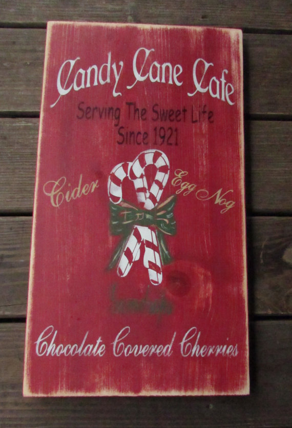 Christmas sign, candy canes, Christmas cafe, wood sign