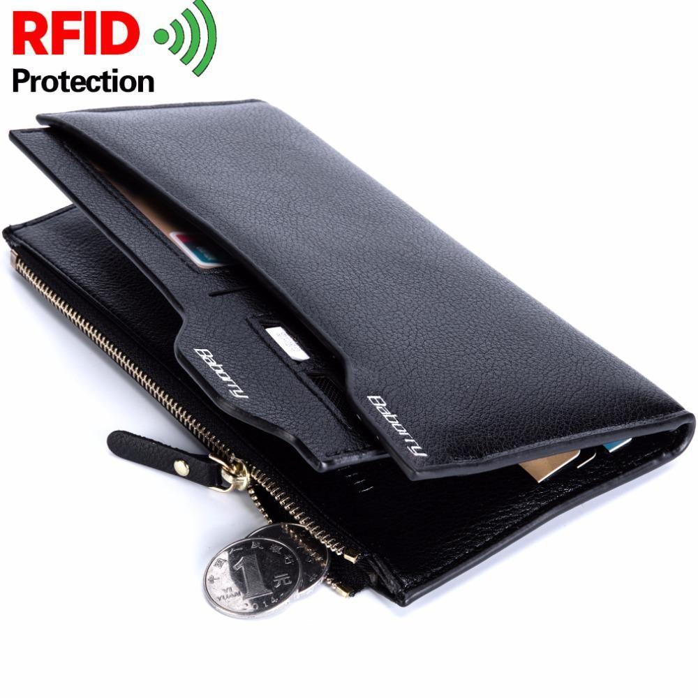 73c1d974ec2b RFID Theft Protect Coin Bag zipper Men Wallets Famous Brand Mens ...