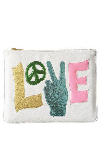 White Peace Love Clutch