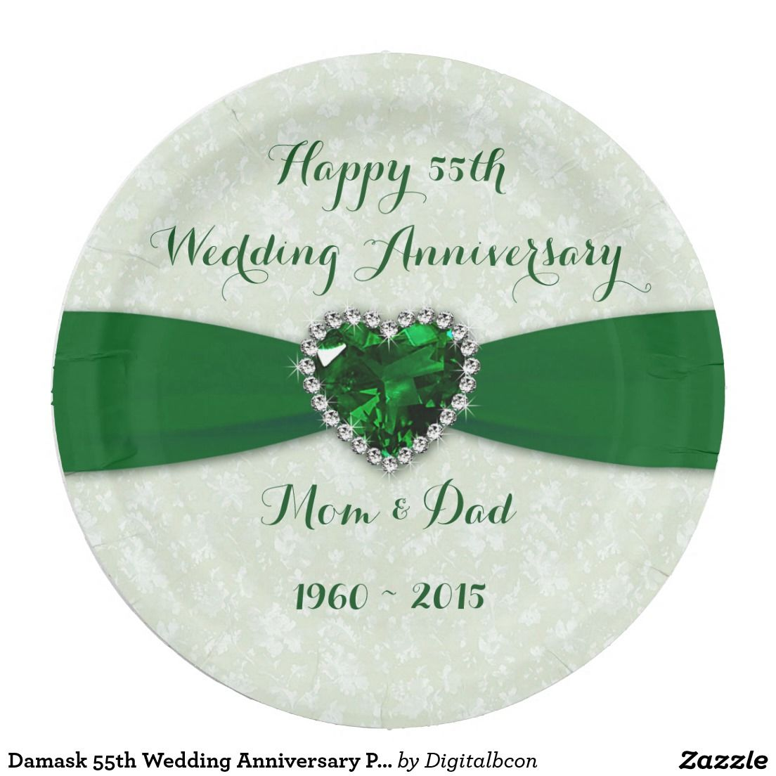 Soft Damask 55th Wedding Anniversary Paper Plate 55th Anniversary