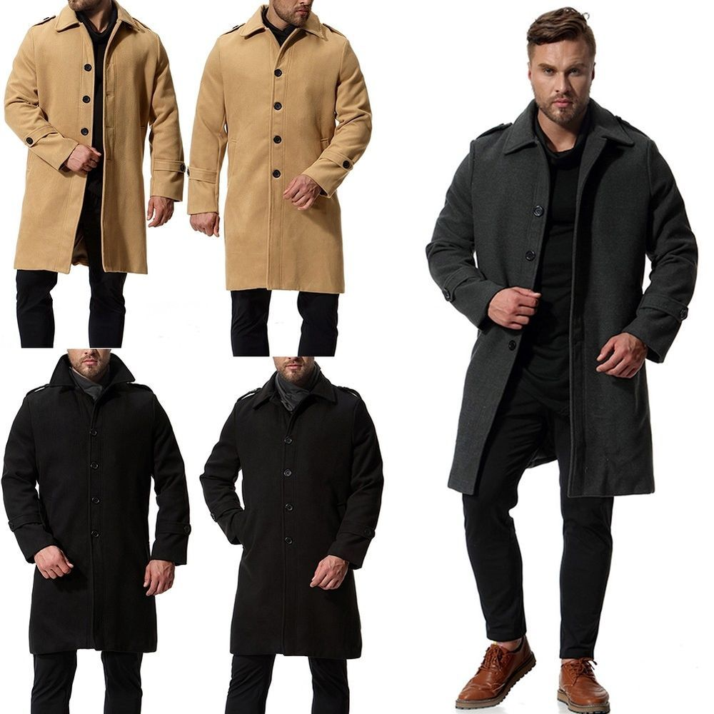 310911260 Men s Wool Coat Winter Trench Outwear Single Breasted Overcoat Warm ...