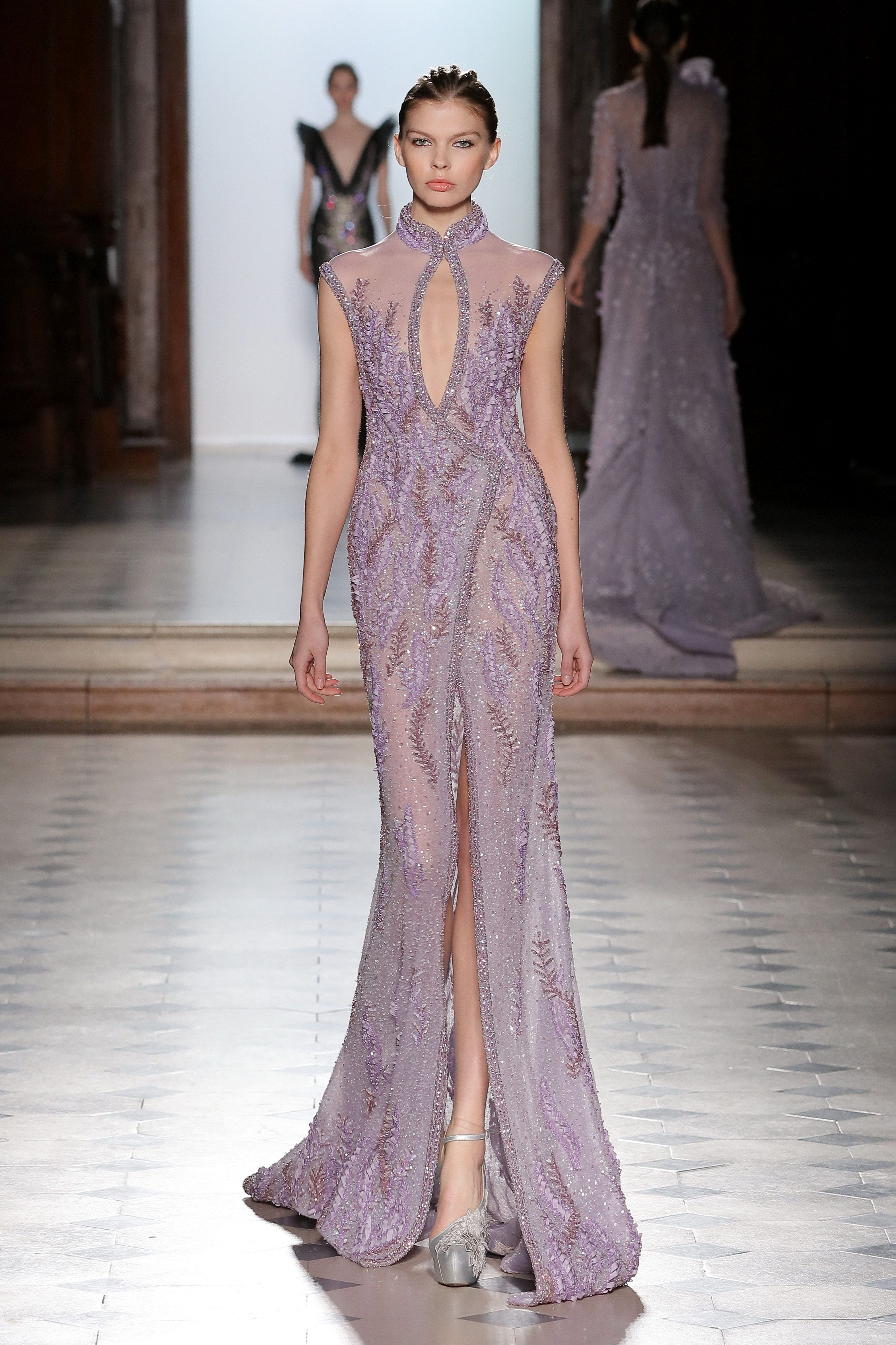 96616e3ffe6 Tony Ward Couture I Spring Summer 2018 I Lilac wrap dress fully embroidered  with silk thread and sequins