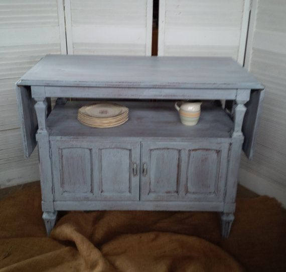 Delicieux French Market Drop Leaf Buffet Server In Grey Wash Finish Vintage Poppy  Cottage Painted Furniture