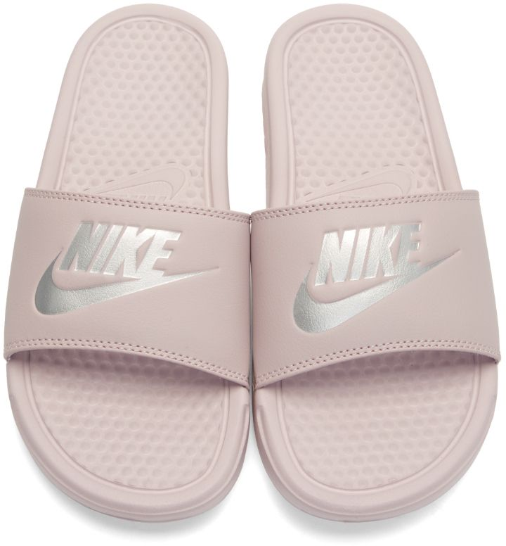 Nike - Pink 'Benassi Slides. Faux-leather slip-on sandals in '