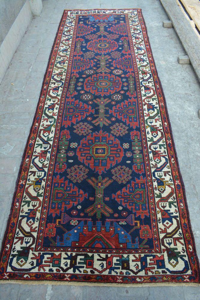 Rare Antique Beautiful Handmade Persian Shirnekhori rug runner / hallway rug #Tribal