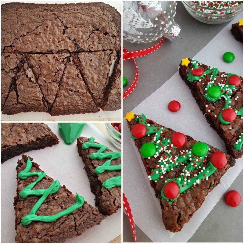 Christmas Tree Brownies Postres navideños, Brownies de