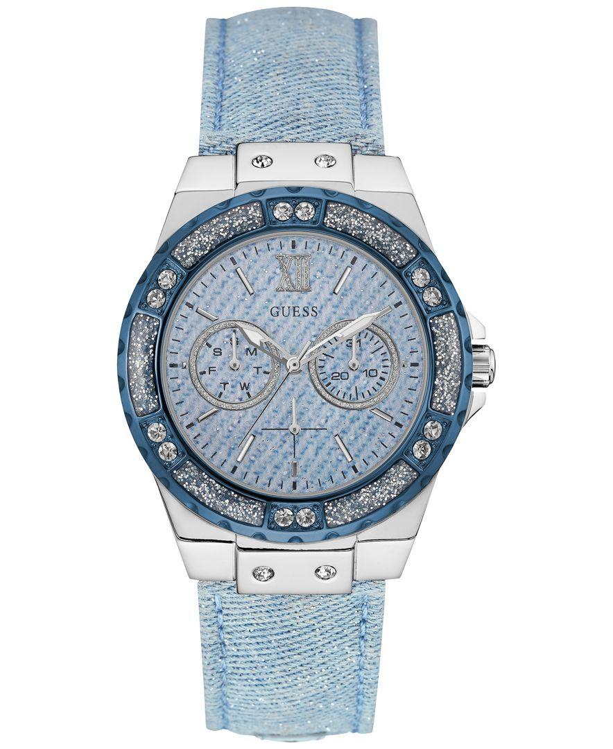 8900601bb2137 Guess Women s Sky Blue Sparkle Denim on Leather Strap Watch 39mm U0775L1