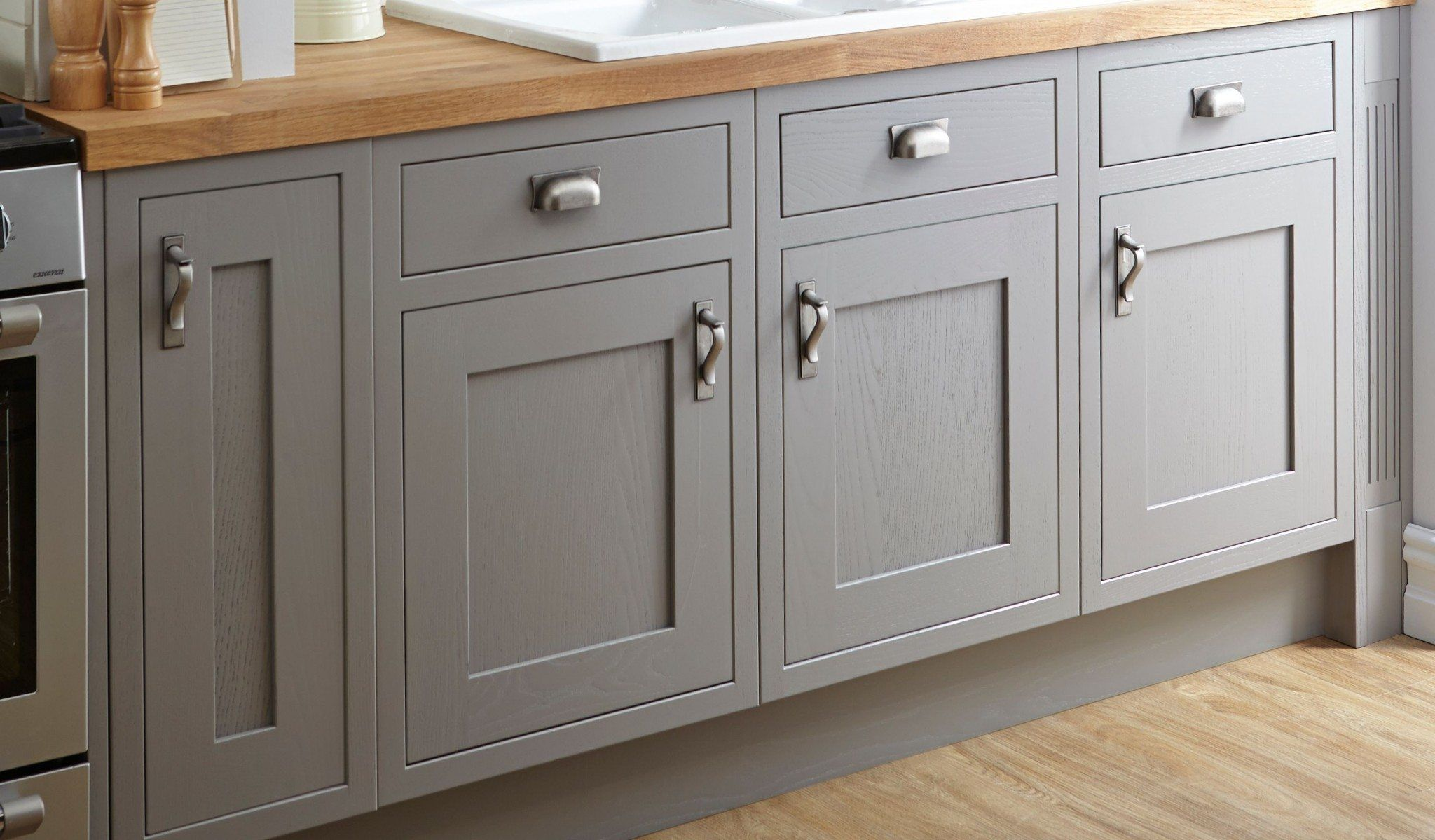 Grey Cabinet Doors With Metal S In The Kitchen Butcher Block Countertops Diffe Types Of
