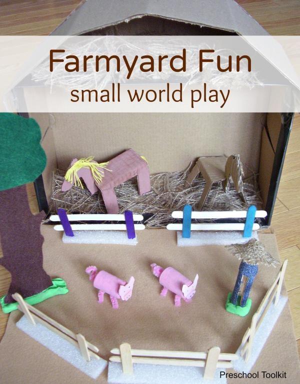 Farmyard Fun small world play - Preschool Toolkit - make a barn, animals and more with this fun farmyard activity
