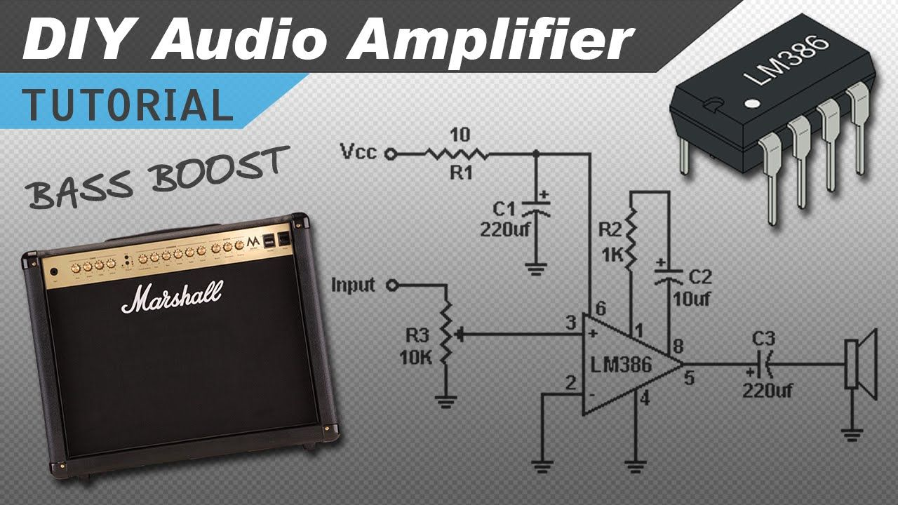 make a great sounding lm386 audio amplifier with bass boost [ 1280 x 720 Pixel ]