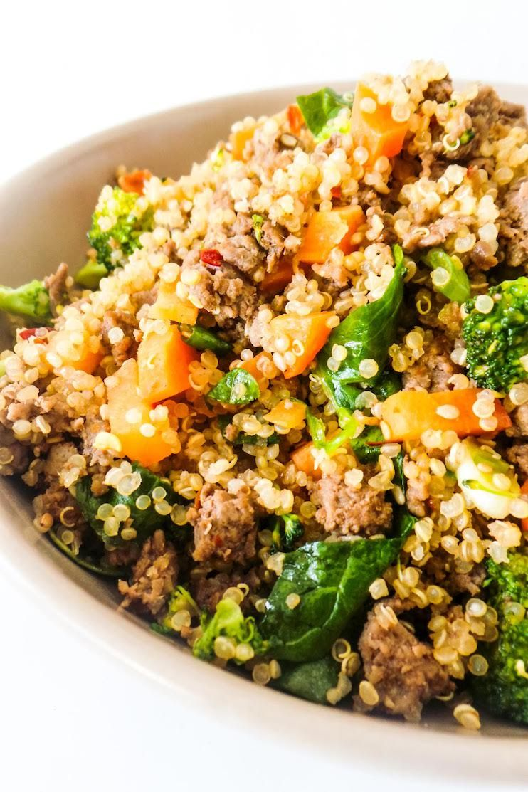 Healthy Ground Beef And Broccoli Fried Quinoa Recipe Her Highness Hungry Me Recipe In 2020 Healthy Ground Beef Ground Beef And Broccoli Ground Beef Recipes Healthy