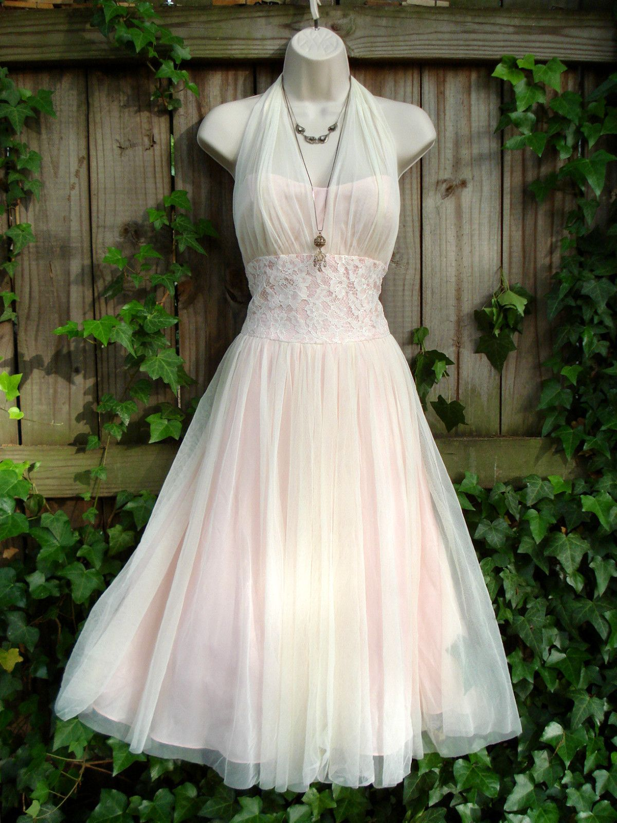 Pink cocktail dress for wedding  Vtg ss does s Marylin pink white mesh lace halter prom formal