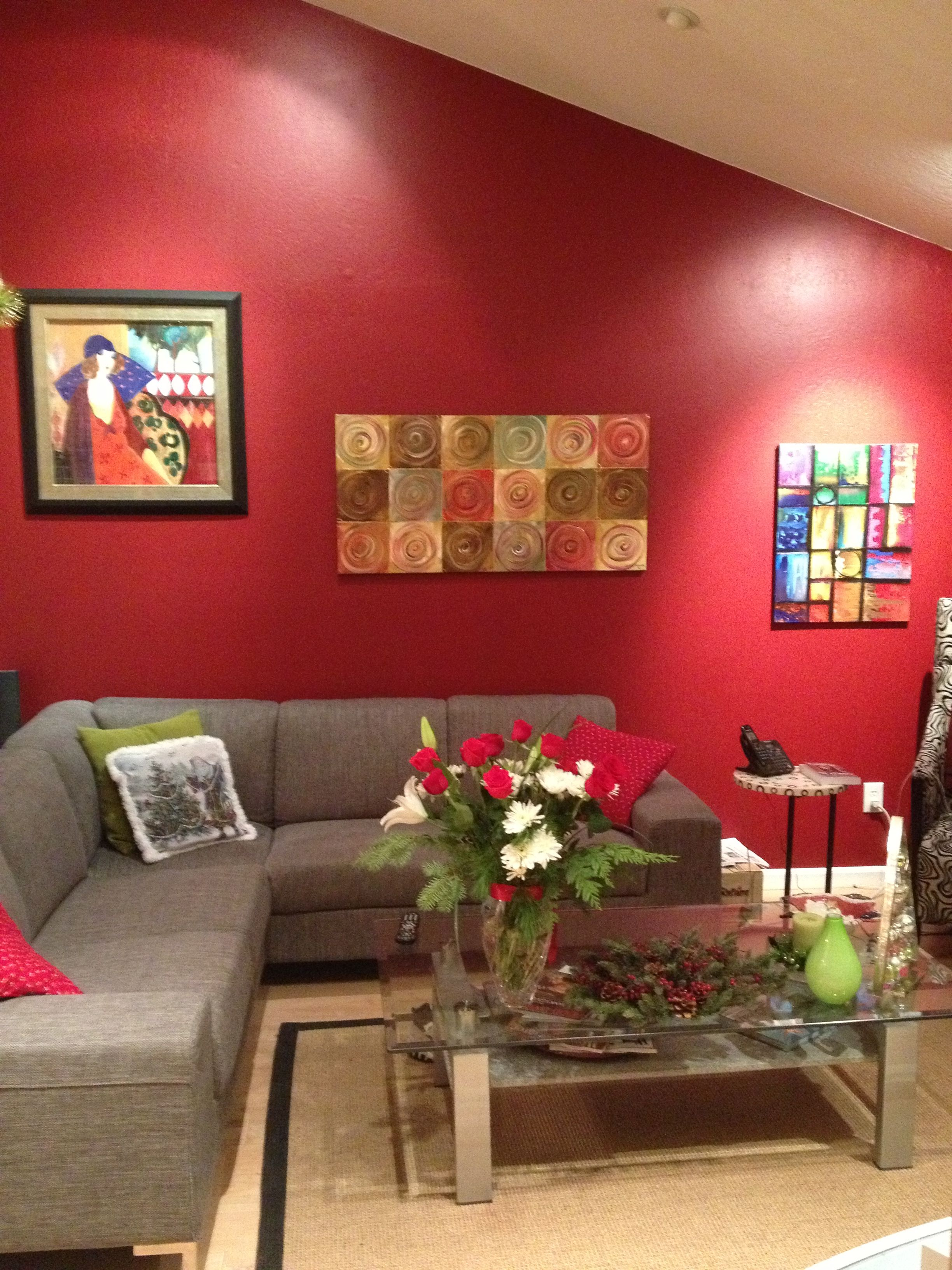 Living Room Wall I Painted Merlot Red Red Living Room Decor Living Room Designs Living Room Paint