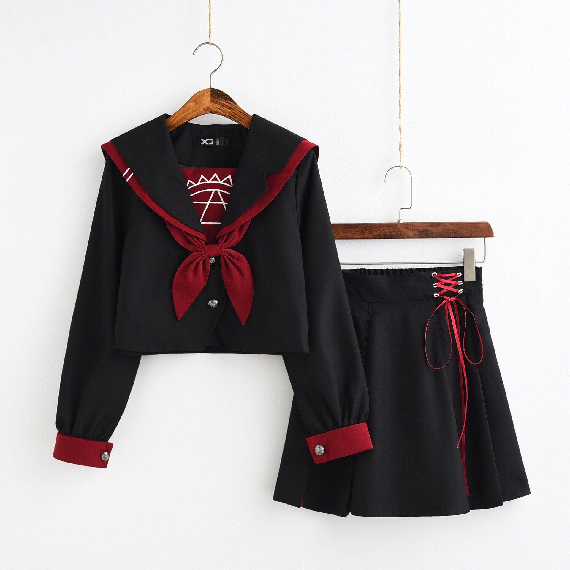 Pleated Skirt Set Women Japanese JK School Uniform Lolita Sailor Collar Coat