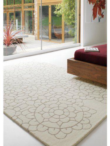benuta Teppiche Moderner Designer Wollteppich Matrix Crochet Taupe