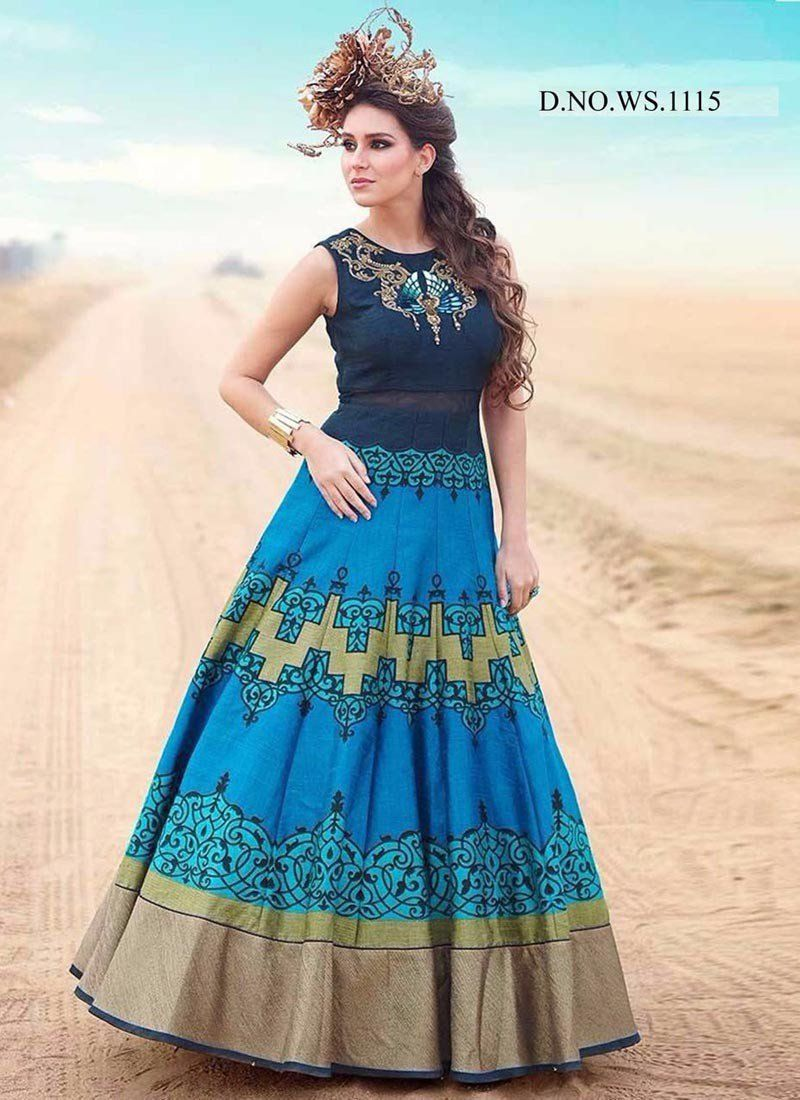 Get latest style sky blue designer printed gown online at