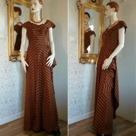 Vintage balklänning festklänning brun brons draperad kjol 30