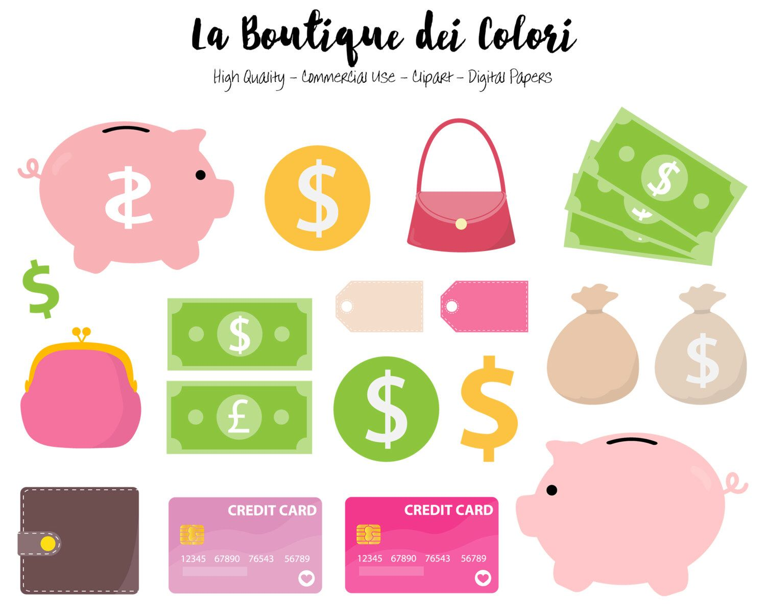 Money Clipart, Cute Digital illustrations PNG, Save up ...