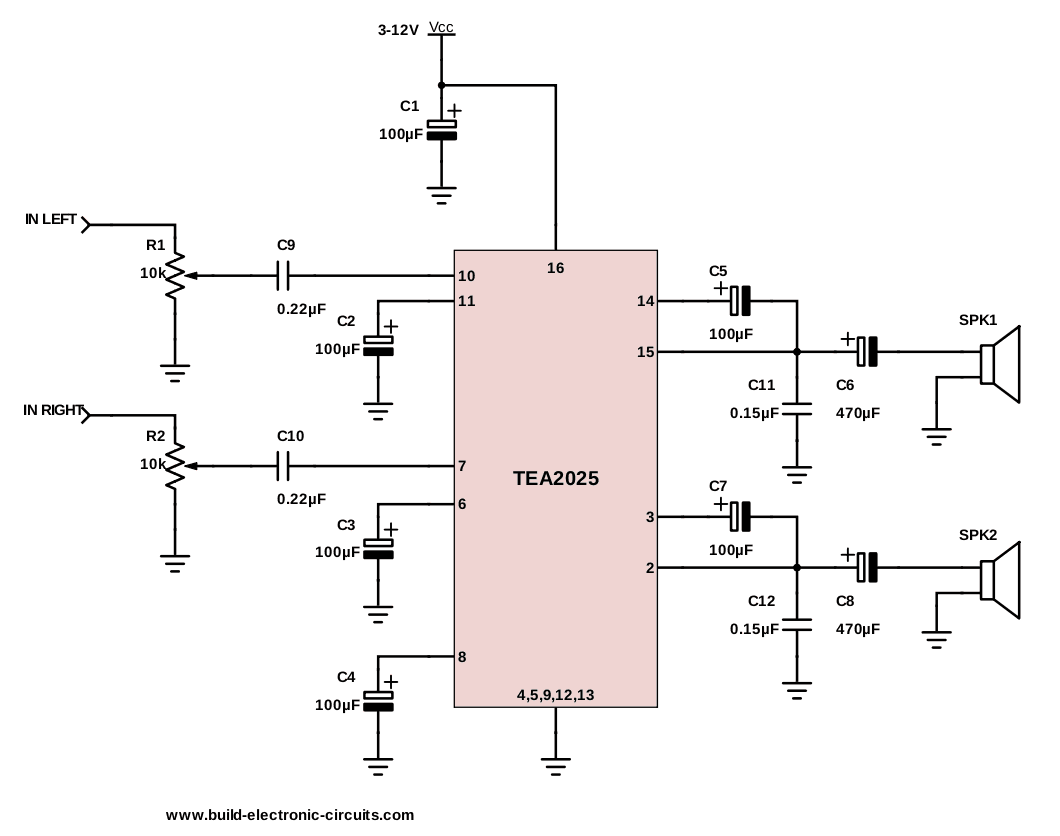 medium resolution of bridge ic tea2025 amplifier circuit a stereo amplifier circuit wiring diagram high power lifier circuit diagram home work wiring