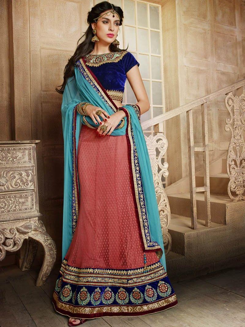 Engagement pattu saree images red with blue heavy wedding wear embroidery lehenga  lehenga