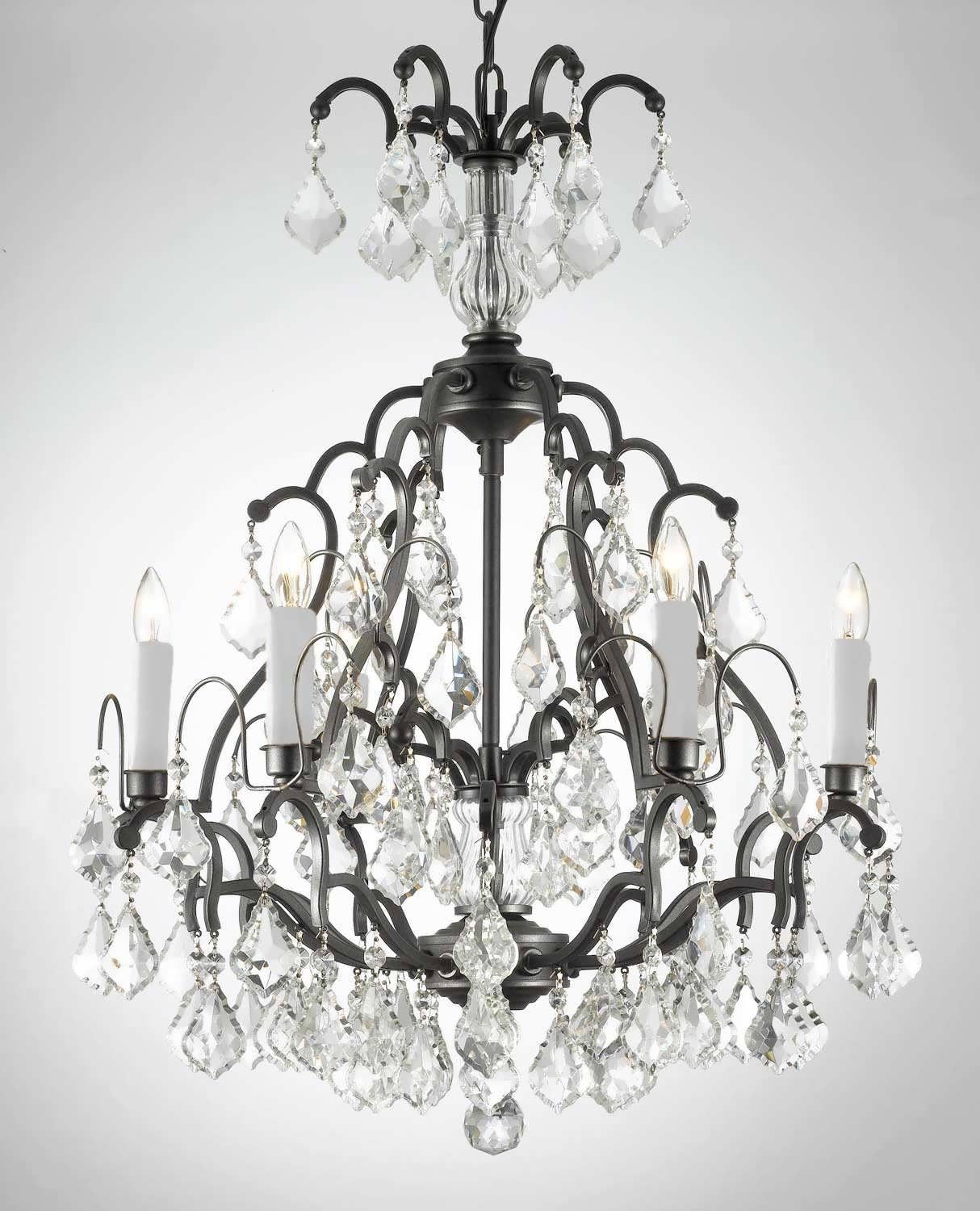 Chandelier Black Wrought Iron Round Mexican Light Fixtures