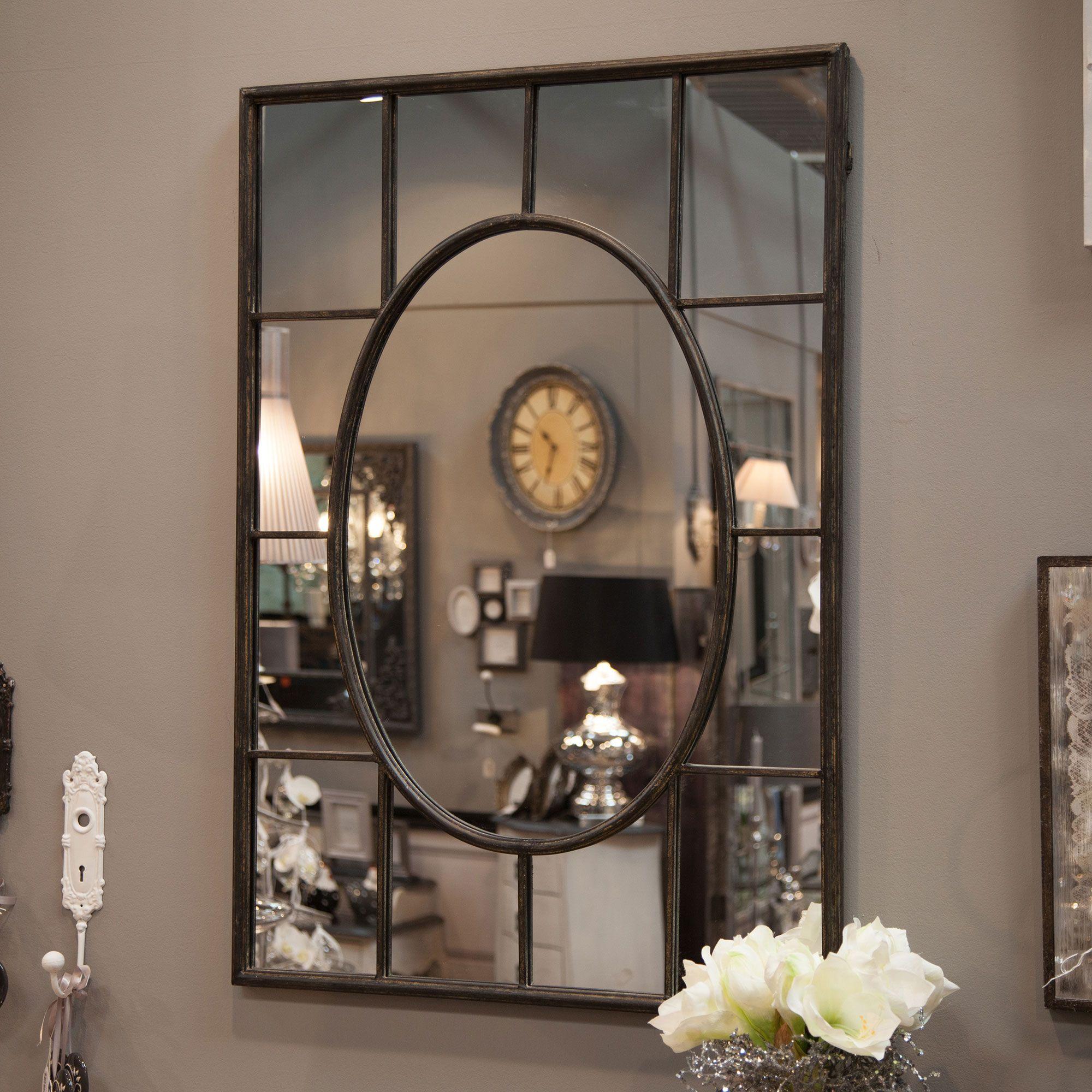 Miroir en m tal rectangulaire quadrill amadeus deco for Miroir noir rectangulaire