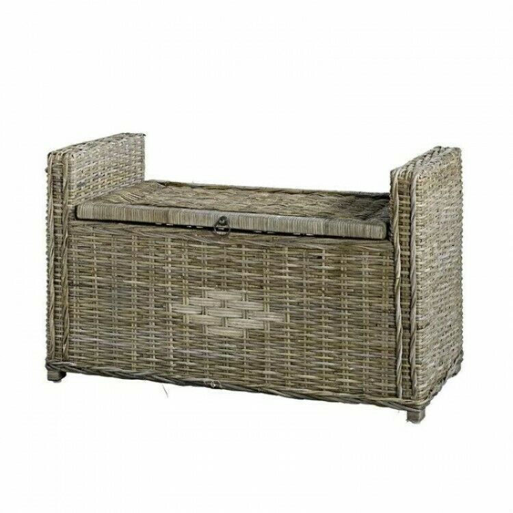 Marvelous Rattan Storage Bench Brown Woven Reed Ottoman Blanket Chest Pdpeps Interior Chair Design Pdpepsorg