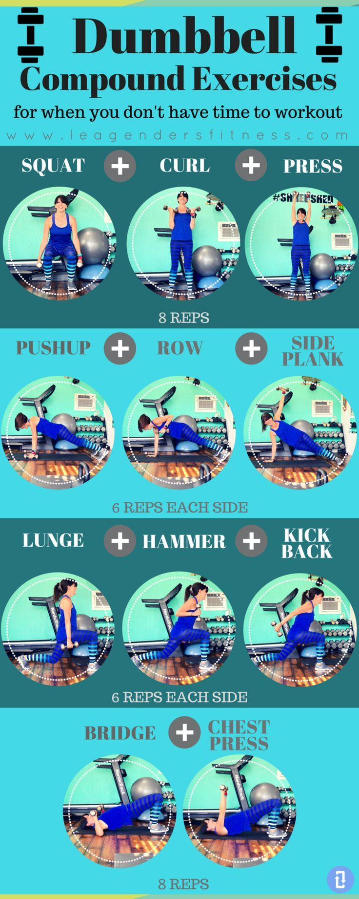 Dumbbell Compound Exercises for When You Dont Have Time to Work Out #fitness #fitnessworkouts