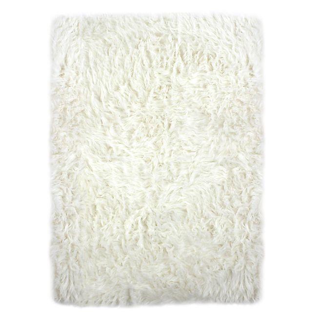 Bundchen Tapis imitation fourrure 100x150cm blanc | Accessoires ...