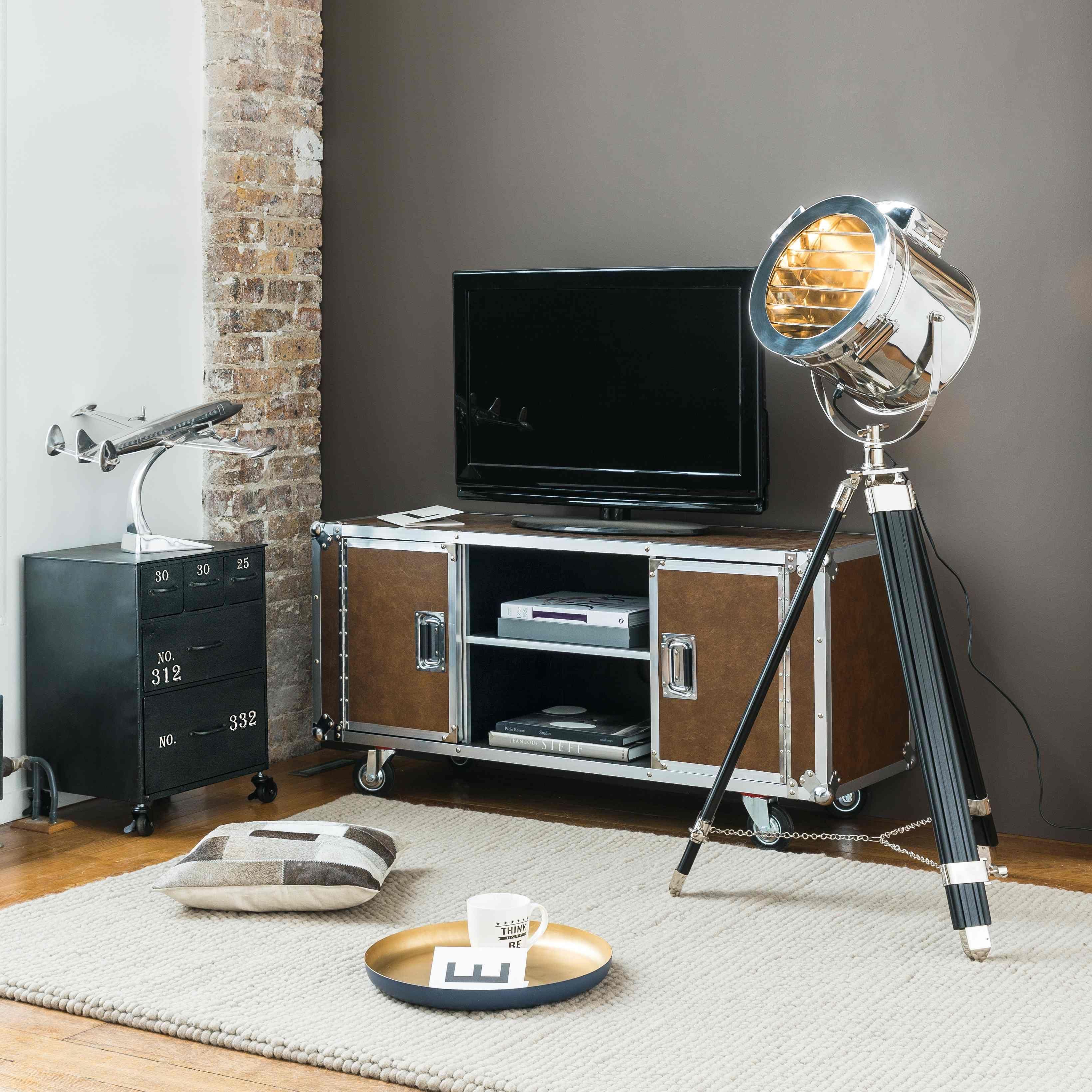 Meuble Tv Roulettes En Textile Enduit Camel Maisons Du Monde  # Meuble Tv A Roulettes Design
