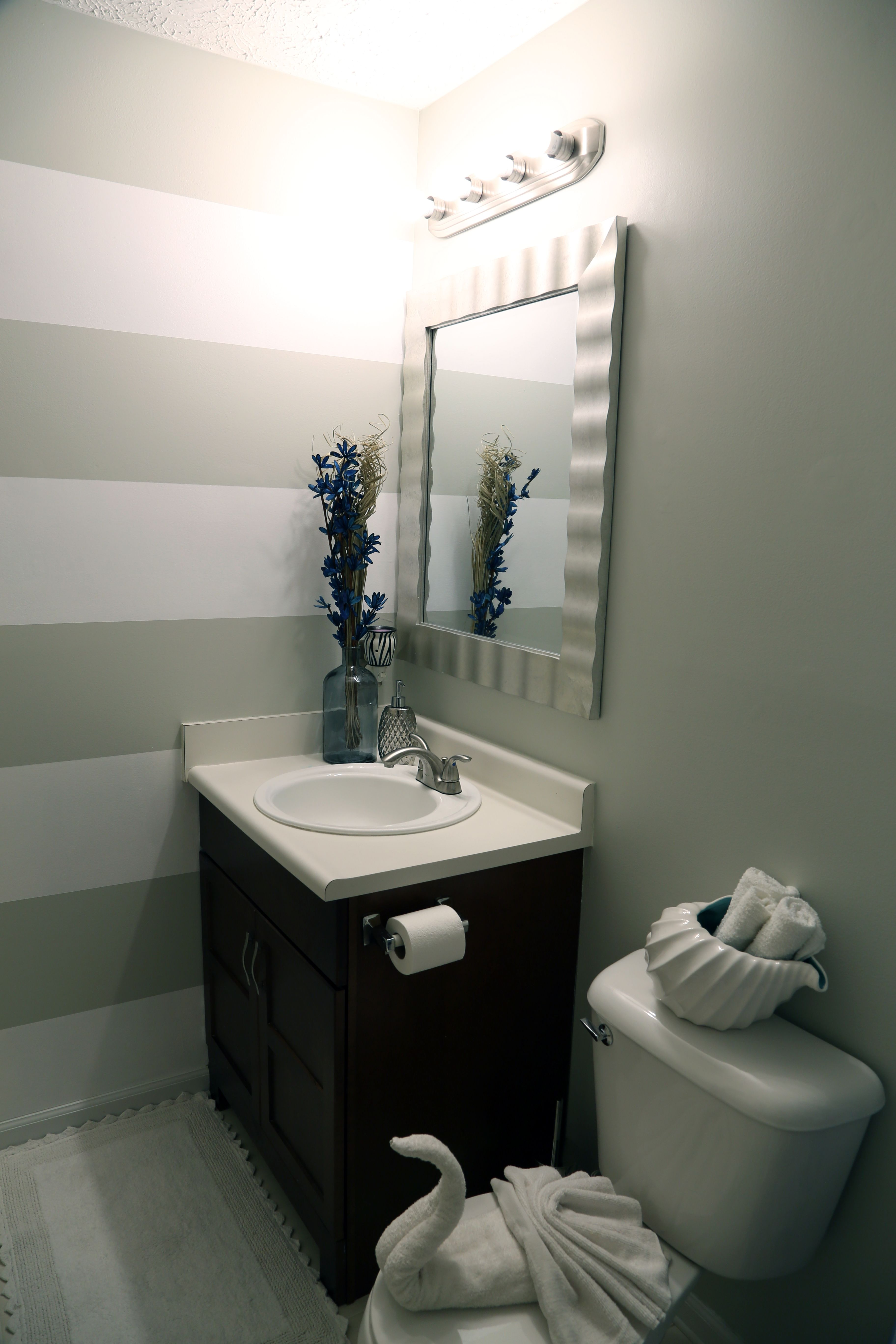 Gray and white color stripes bathroom ideas my budget friendly diy
