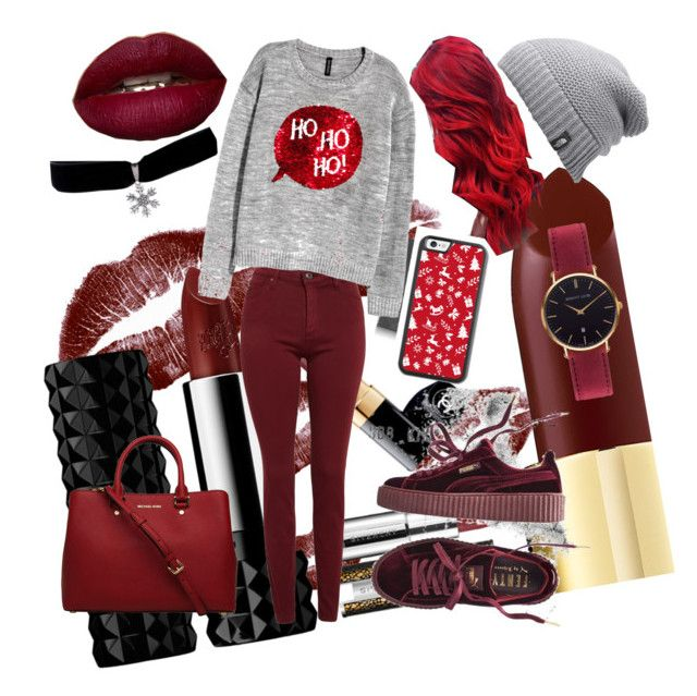 """""""Red"""" by elmaspaha ❤ liked on Polyvore featuring The North Face, AG Adriano Goldschmied, H&M, Puma and Abbott Lyon"""