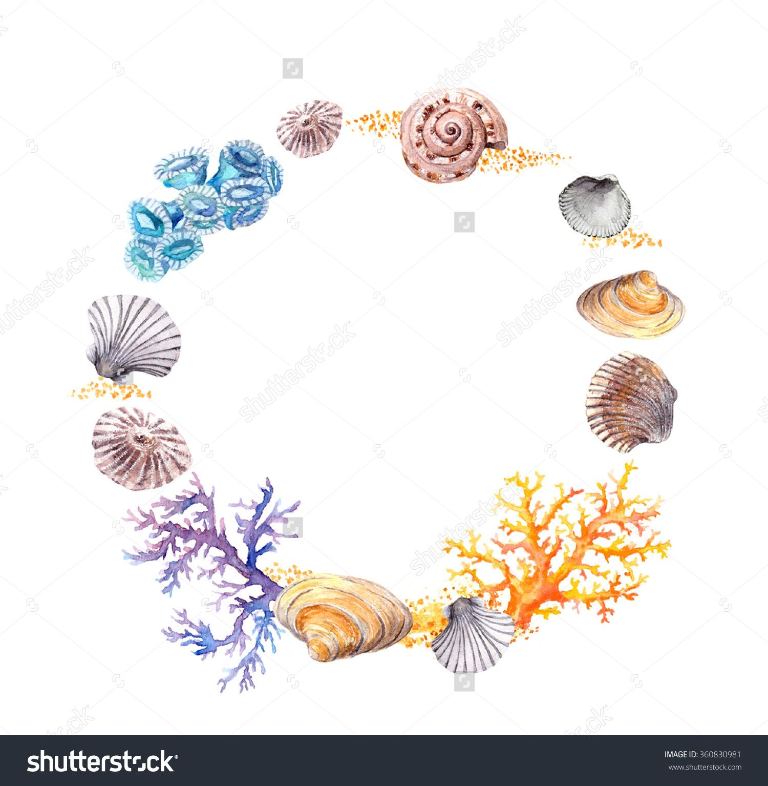 Sea Wreath Border With Shells Corals And Sand