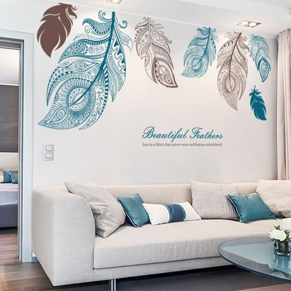 7pcs Set 85x185cm After Paste Large Size Feather Shape Wallpaper Stickers Living Room Tv Backdrop Stickers Decal Wish Turquoise Living Room Decor Feather Wall Decal Wall Stickers Living Room #wall #decor #stickers #living #room