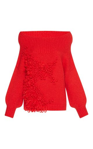 Medium delpozo red embroidered jumper