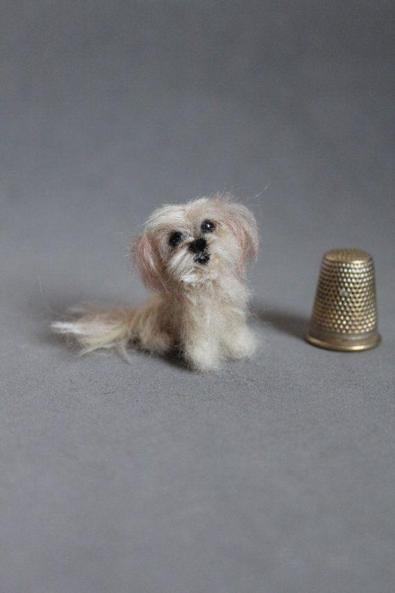 Shih Tzu Needle Felted Dog Custom Order 1 12 Miniature Wool