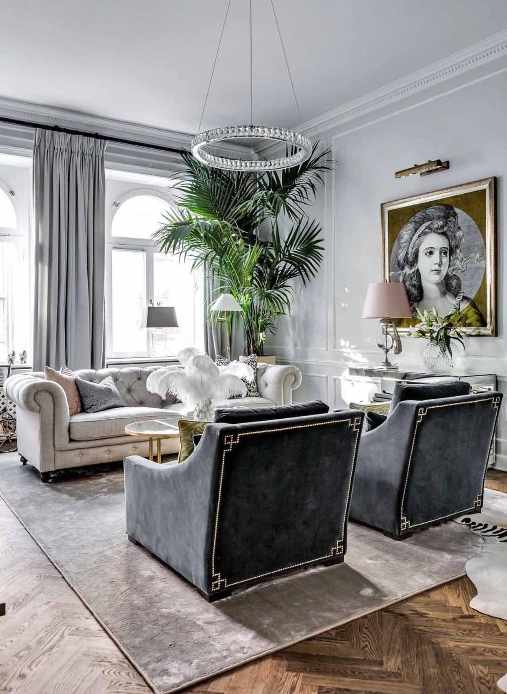 Art Deco Style Glam Living Room Decor With Grey Velvet Chesterfield Sofa Artsy Glam Decor Unique Glam Living Room Decor Velvet Living Room Luxury Living Room