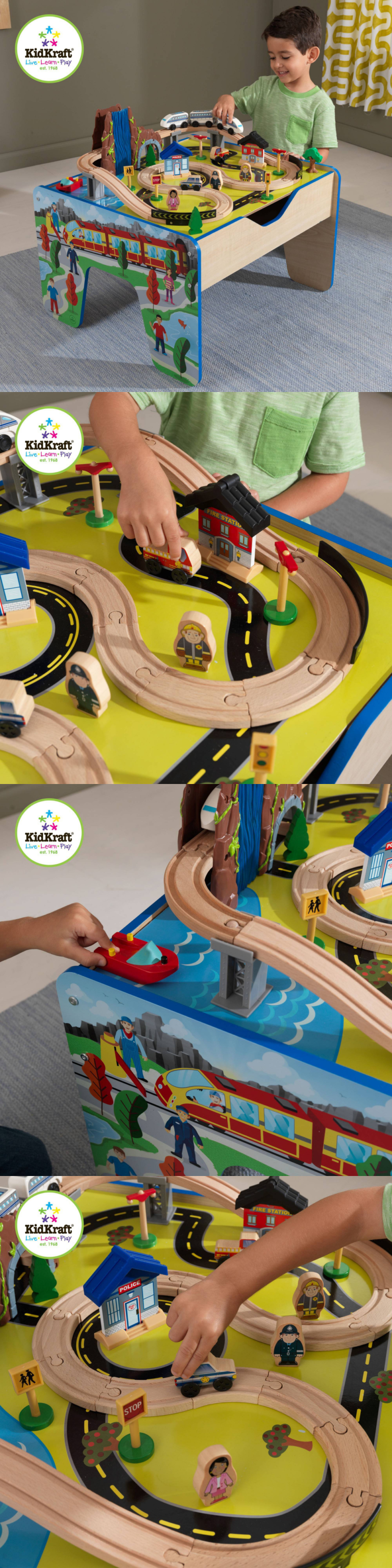 Toys images for boys  Wooden and Handcrafted Toys  Kidkraft Train Table Set Wooden