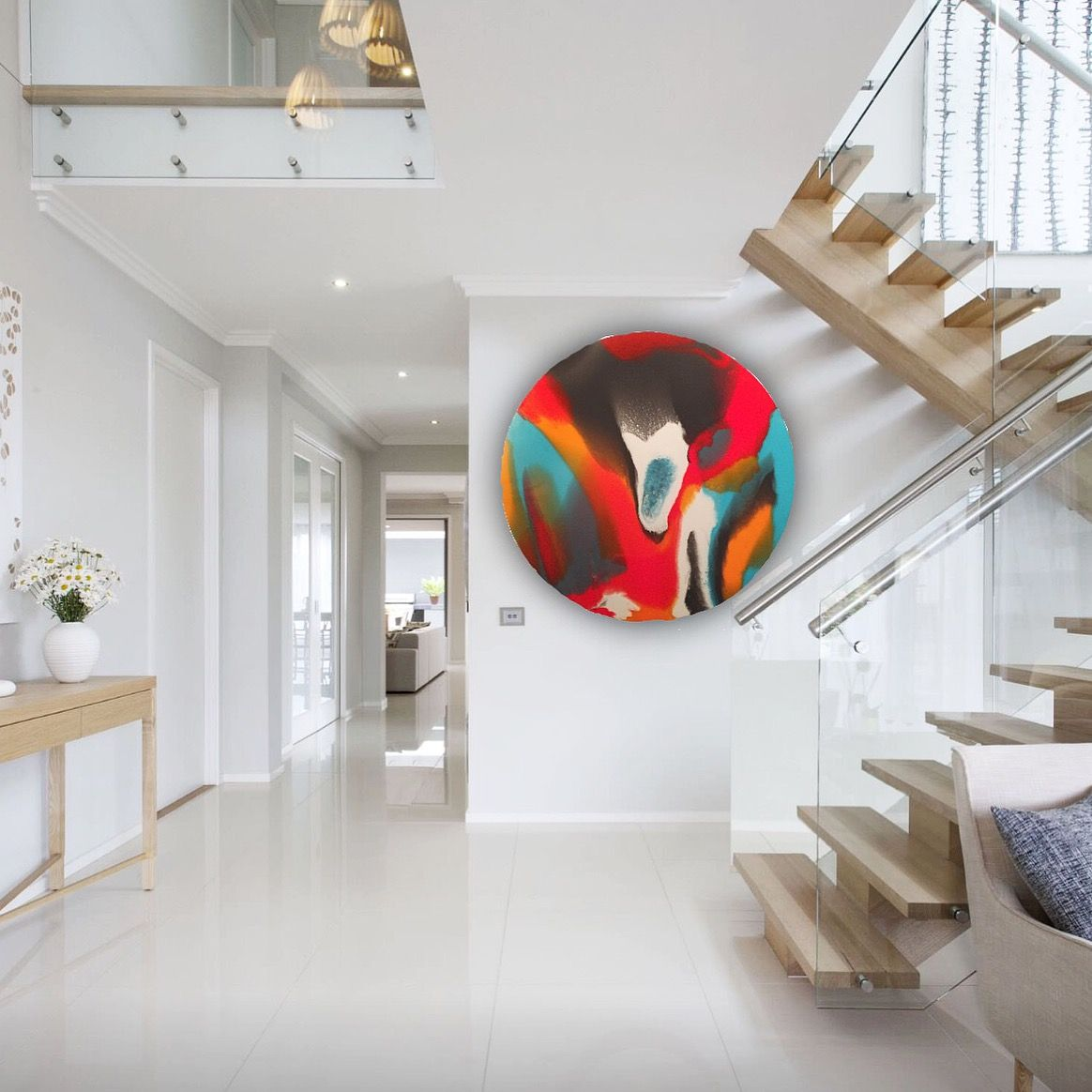 """Abstract Resin Art - """"Tequila Sunrise""""   Modern staircase ..."""