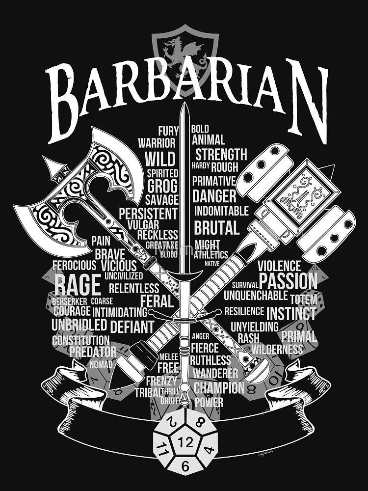 RPG Class Series: Barbarian - White Version | Slim Fit T