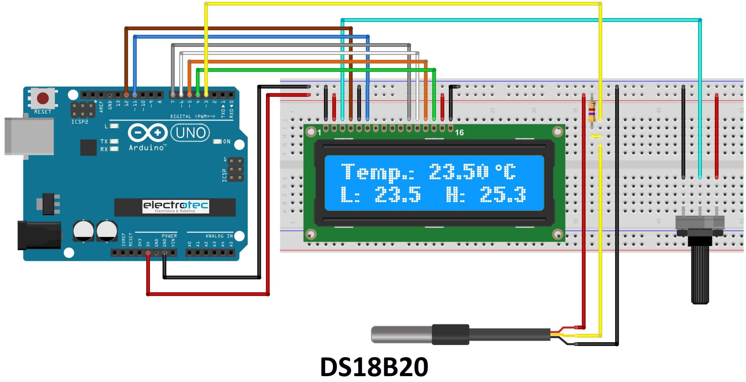 Electrotec Electrónica Y Robótica Sensor De Temperatura Ds18b20 Circuito Arduino Sensores Sensor De Temperatura Arduino
