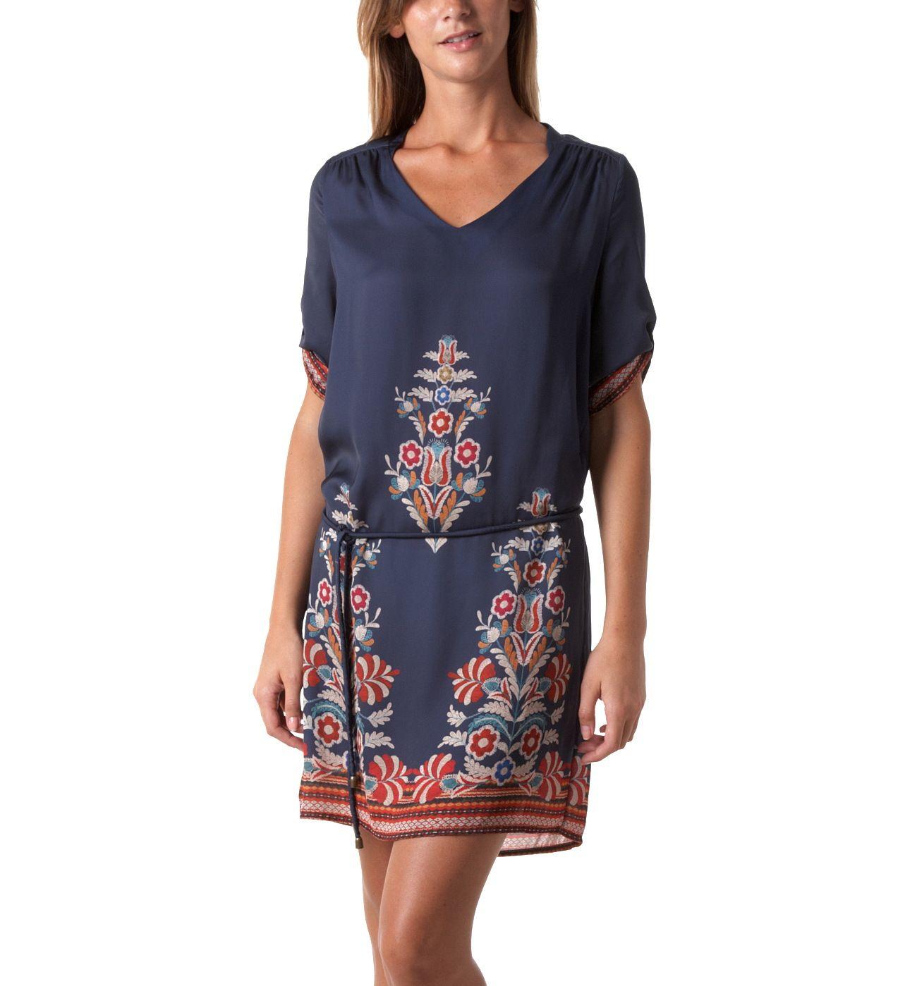 Gemustertes Kleid - Blau bedruckt - Damen - Kleider - Promod