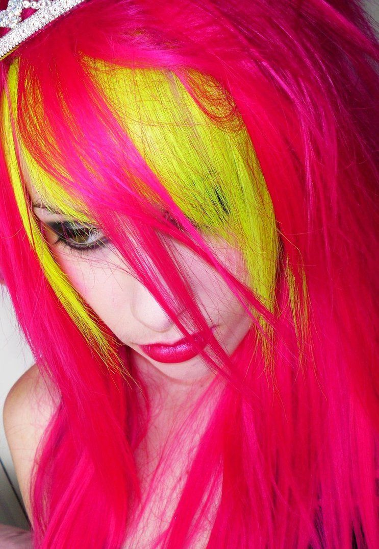 Neon yellow and pink hair hair colour dye color bright bright