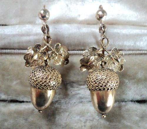 Antique Victorian 18ct Gold Acorn Earrings Ebay