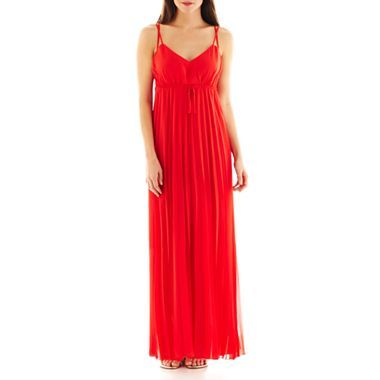 4ff1189c877 Bisou Bisou® Spag Long Dress with Pleated Skirt - JCPenney