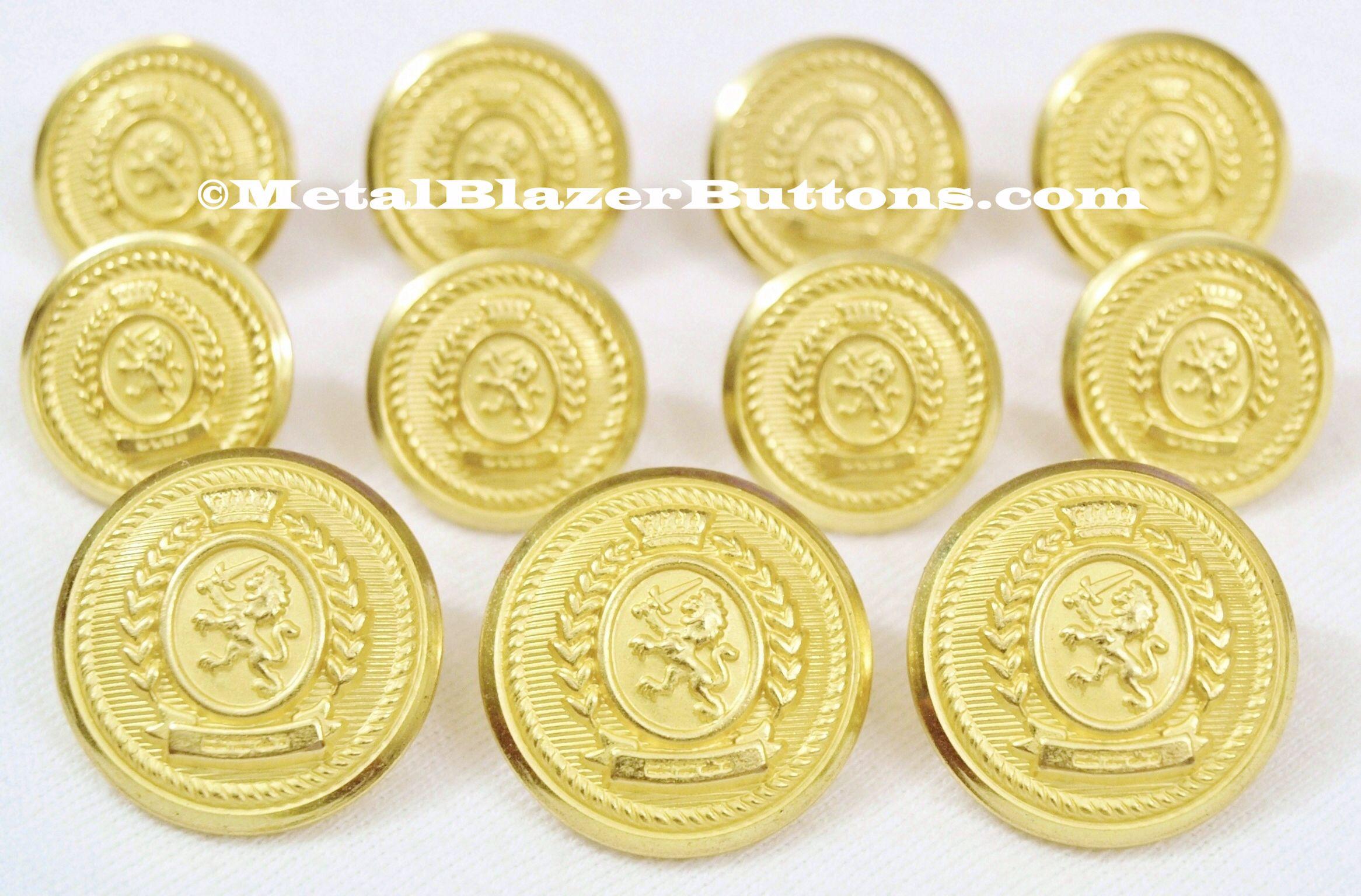Gold Metal Blazer Boutons Set-Bouclier /& Crown