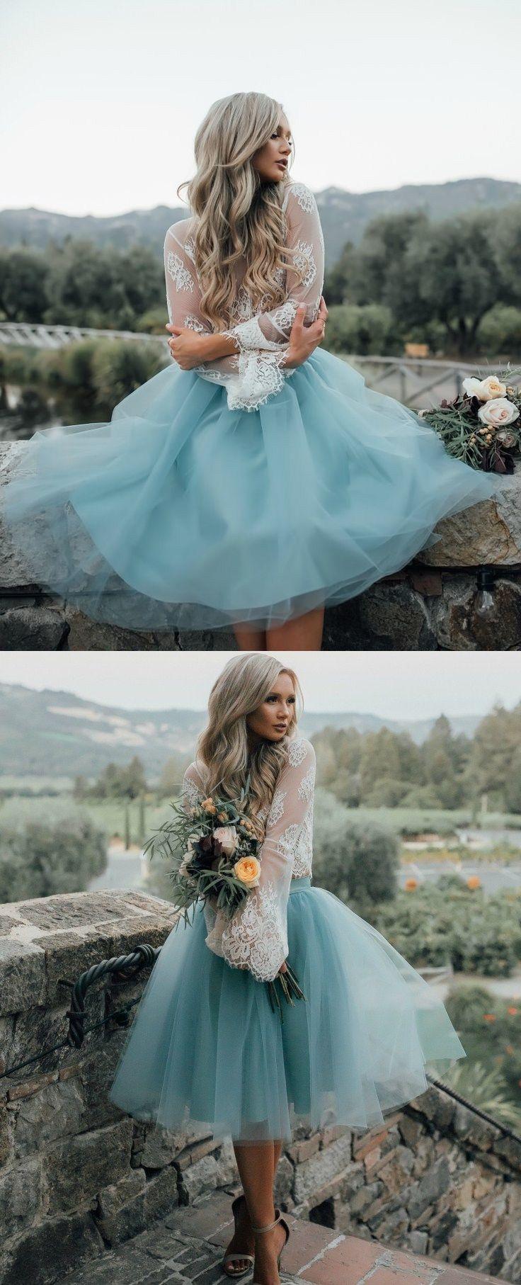 Aline round neck flare sleeves sage tulle short bridesmaid dress