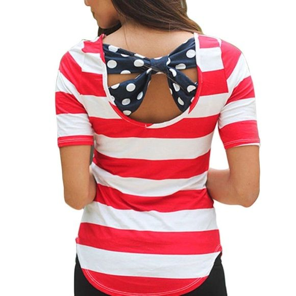 561426aca6301 Ready for the 4th Bow shirt  small  Perfect top for 4th of July ...