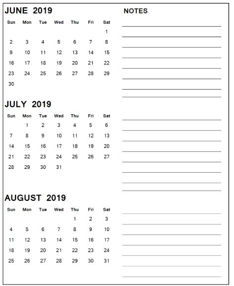 June July August 2019 Calendar Printable Templates Calendar June